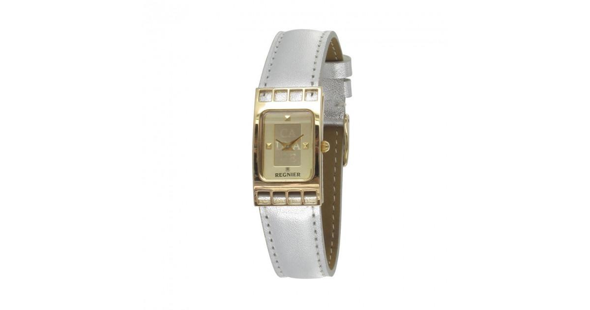 Régnier Cadrage 2070222 dorée plaquée or et bracelet en cuir argenté
