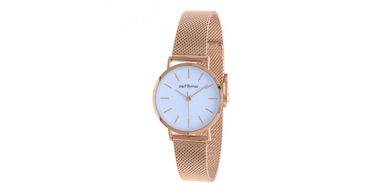 montre pour femme dorée rose avec bracelet en mailles milanaises très tendance