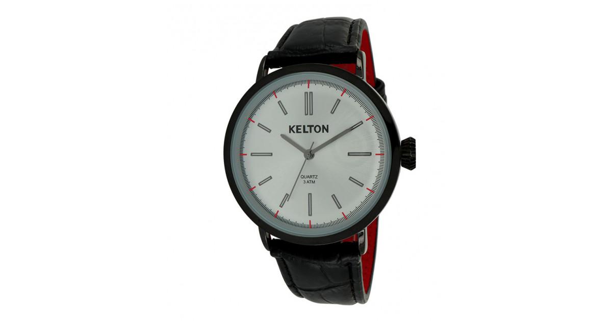 montre pour homme kelton métal chromé boitier noir et cadran silver collection vintage