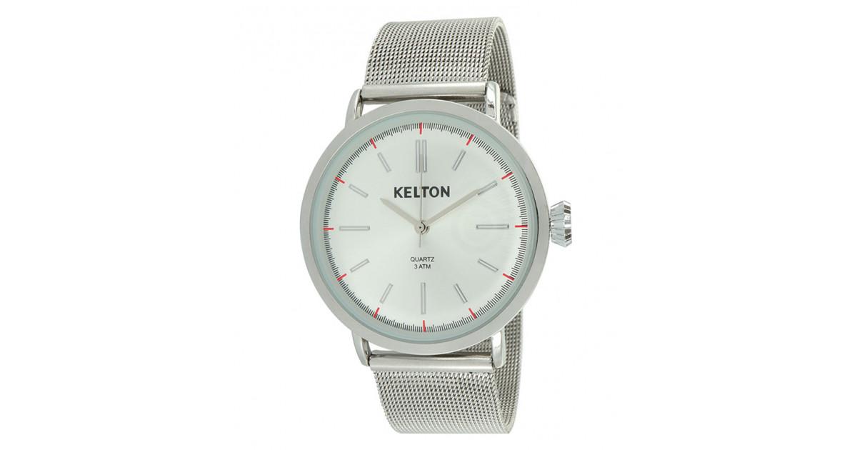 Kelton montre pour homme vintage en métal chromé avec bracelet mailles milanaises