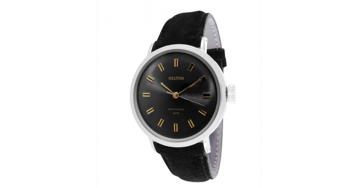 Montre Kelton noire et bracelet en cuir nubuck noir garantie 2 ans