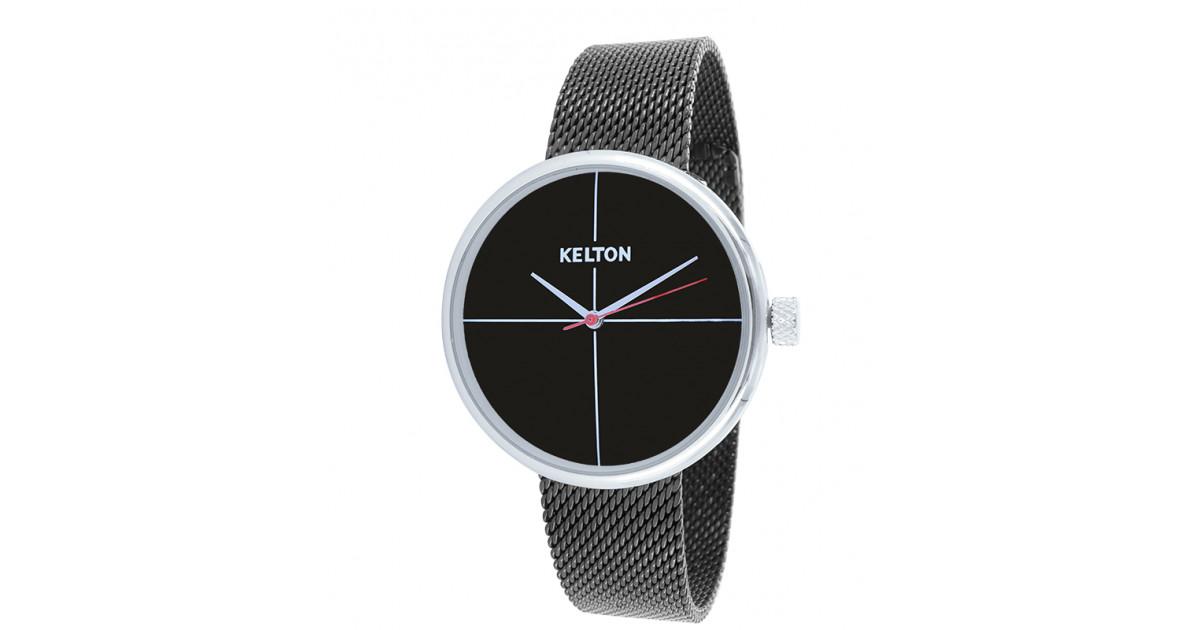 Kelton montre de la collection Vinyle pour femme bicolore noire et chromée