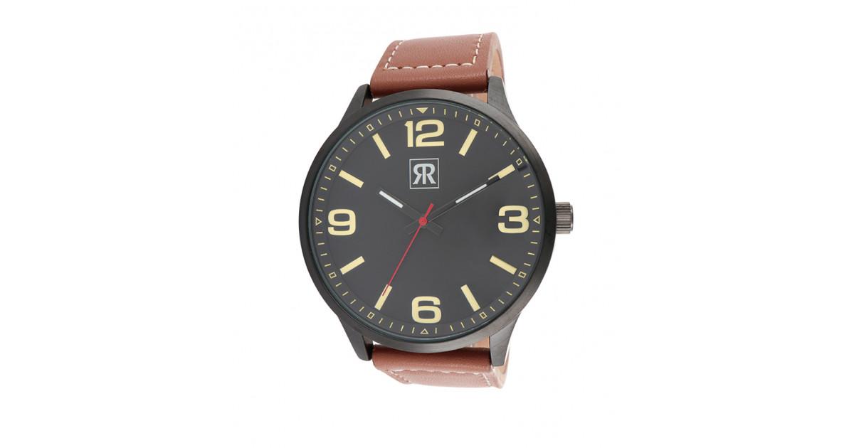 montre pour homme cadran noir et bracelet marron chocolat de chez r-fight
